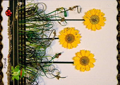 Gracie Mixed Media - Sunshine Flower by Gracies Creations