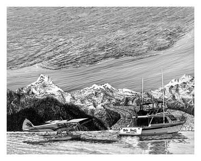 Beaver Drawing - Super Cub On Floats by Jack Pumphrey