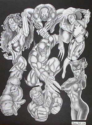 Tattoo Stencils Drawing - Superheroes by Rick Hill