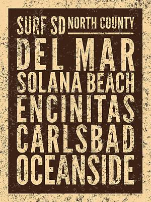 Digital Art - Surf San Diego North County by Mark Kingsley Brown