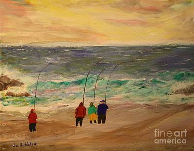 Surfcasters At Sunrise Print by Bill Hubbard