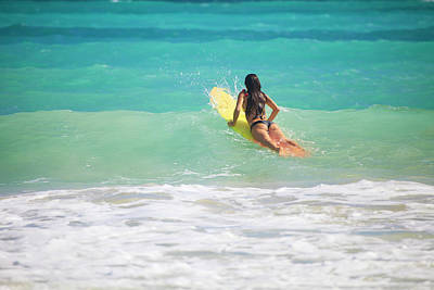 Surfer Girl Paddling Out Print by Tomas Del Amo - Printscapes