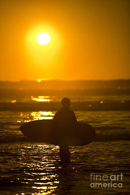 Surfer Sunset Silhouette Print by Daniel  Knighton