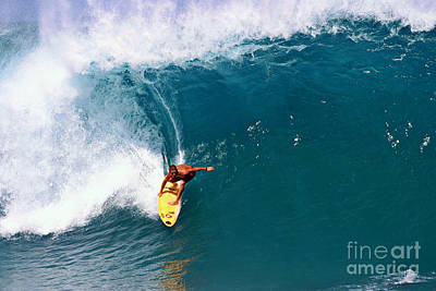 Surfing Photograph - Surfing At Banzai Pipeline by Paul Topp