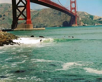 Surfing The Golden Gate Print by Rhonda Jackson