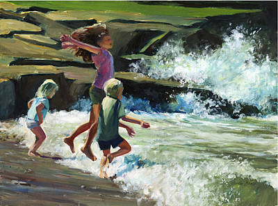Maine Beach Painting - Surfs Up by Gordon France