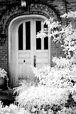 Surreal Black White Infrared Spooky Haunting Door Print by Kathy Fornal