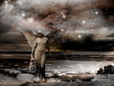 Surreal Fantasy Celestial Angel With Stars Print by Kathy Fornal