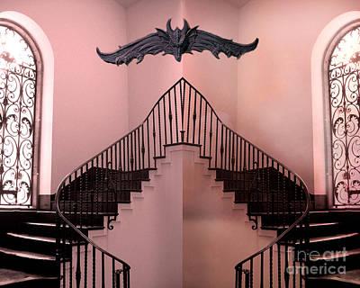 Gargoyle Photograph - Surreal Fantasy Gothic Gargoyle Over Staircase by Kathy Fornal