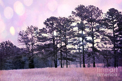Surreal Fantasy Nature Purple Trees Landscape Print by Kathy Fornal