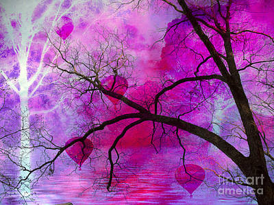 Surreal Fantasy Pink Purple Tree With Balloons Print by Kathy Fornal