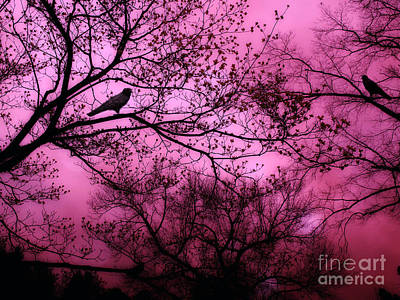 Surreal Fantasy Pink Sky Trees And Ravens Print by Kathy Fornal