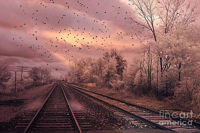 With Photograph - Surreal Fantasy Railroad Tracks With Birds by Kathy Fornal
