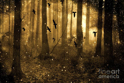Surreal Fantasy Ravens Crows Sepia Woodlands With Stars Print by Kathy Fornal