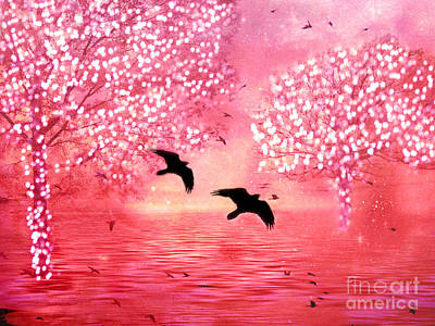 Surreal Fantasy Ravens With Shimmeringtrees Print by Kathy Fornal