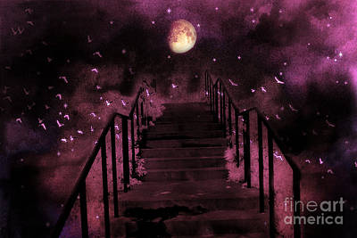 Surreal Fantasy Stairs Moon Birds Stars  Print by Kathy Fornal