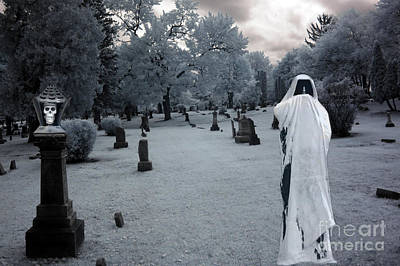 Reaper Photograph - Surreal Gothic Spooky Grim Reaper And Skull by Kathy Fornal