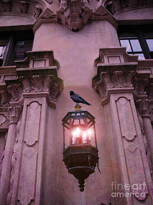 Surreal Raven Gothic Lantern On Building Print by Kathy Fornal