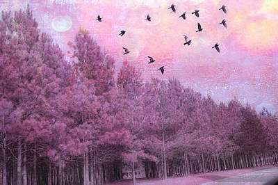 Surreal Trees Birds Pink Fantasy Nature Print by Kathy Fornal