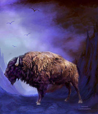 Bison Mixed Media - Survivor by Carol Cavalaris