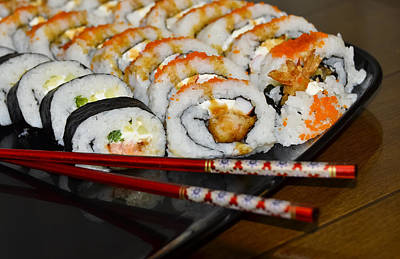 American Food Photograph - Sushi And Chopsticks by Carolyn Marshall