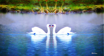 Swan Digital Art - Swan Love by Bill Cannon