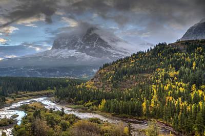 Many Glacier Photograph - Swiftcurrent River Overlook by Mark Kiver