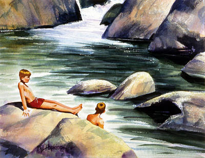Phil Hopkins Painting - Swimming Hole by Phil Hopkins