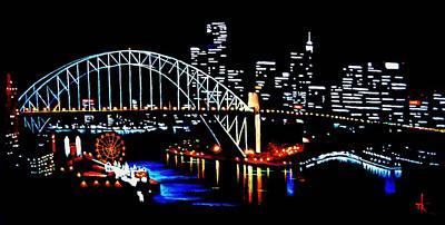 Sydney By Black Light Print by Thomas Kolendra