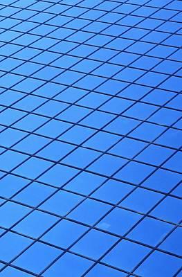 Symmetrical Pattern Of Blue Squares Print by David Chapman