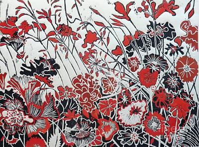Printmaking Mixed Media - Symphony In Red by Belinda Nye
