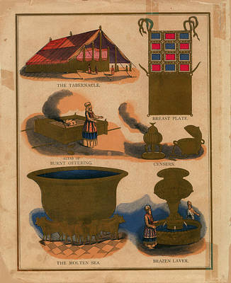 Tabernacle Details Old Testament Brazen Laver Priest Breast Plate Censers Print by Anne Cameron Cutri