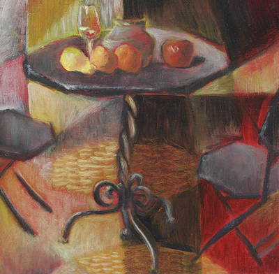 Glass Of Wine Painting - Table And Chairs by Roger Clark