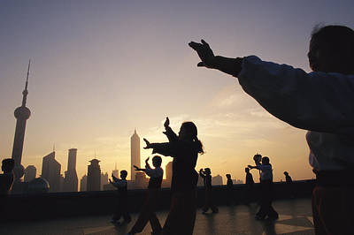 Tai Chi On The Bund In The Morning Print by Justin Guariglia