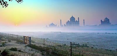 Taj At Dawn Print by Dr. Satyaki Basu Photography