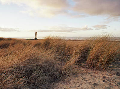 Talacre Beach And Point Of Arye Lighthouse Print by Jon Baxter