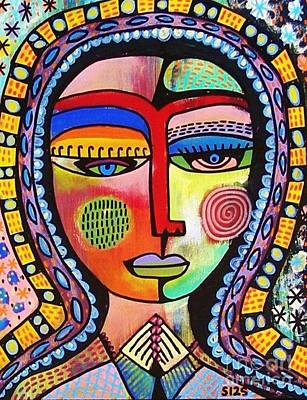 Seraphim Angel Painting - -talavera Virgin Of Guadalupe Enlightenment by Sandra Silberzweig