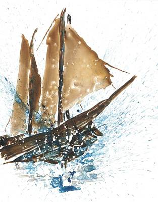 Tall Ship Xi Original by Janet Whitehead