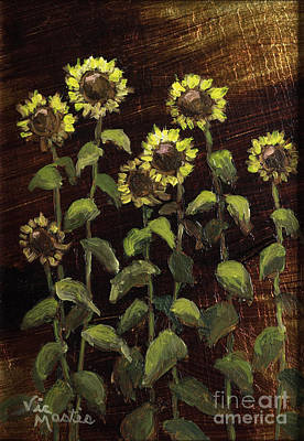 Kansas Artist Painting - Tall Sunflowers With Gold Leaf By Vic Mastis by Vic  Mastis