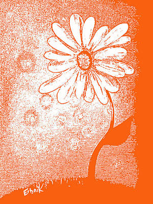 Digital Pastel Painting - Tangerine Daisy By Shawna Erback by Shawna Erback