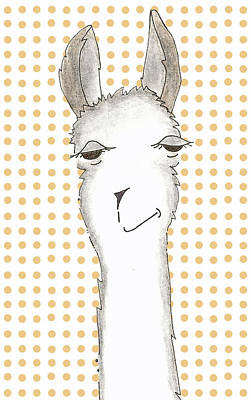 Llama Drawing - Tangerine by Jenny Valdez