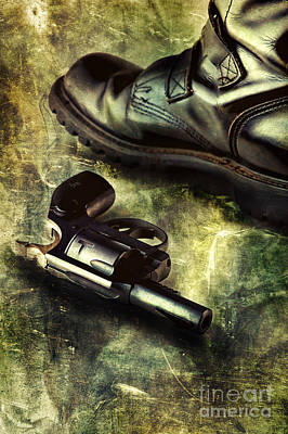Tank Boots And Handgun Print by HD Connelly