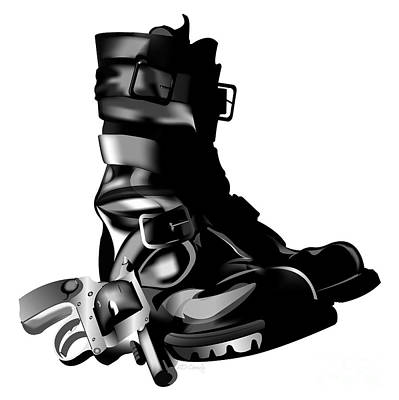 Tankboots And Gun Print by HD Connelly