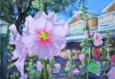Holly Hocks Painting - Taos Holly Hock by Liz Maness