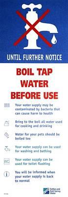 Tap Water Warning Sign Print by Victor De Schwanberg