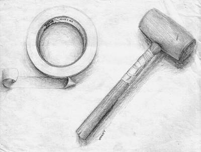 Corey Drawing - Tape And Mallet by Corey Finney