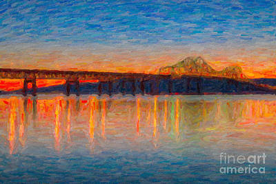 Impasto Oil Photograph - Tappan Zee Bridge After Sunset Impasto by Clarence Holmes