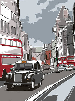 Building Exterior Digital Art - Taxi On London Street by Dynamic Graphics