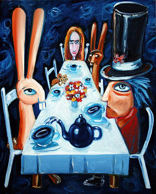 Hatter Painting - Tea By Night by Leanne Wilkes