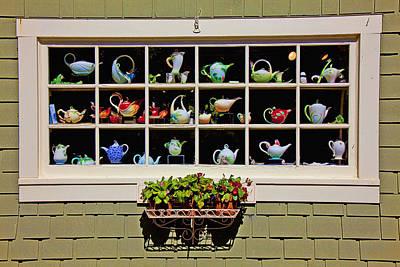 Tea Pots In Window Print by Garry Gay